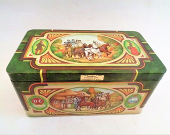 Vintage Tin Box, Douwe Egberts, Pickwick Tea, storage box, Douwe Egberts Tin Box, Made in Holland
