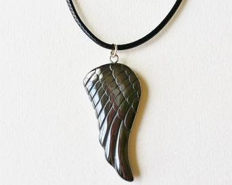Hematite Angel Wing Necklace - hematite necklace, hematite jewelry, angel wing jewelry, angel wing pendant, angel jewelry, angel necklace