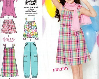 FREE US SHIP Sewing Pattern  Simplicity 1817 Suede Says Girls Preppy Dress Top CargoPants Shorts Size  8.5/16.5 Uncut New