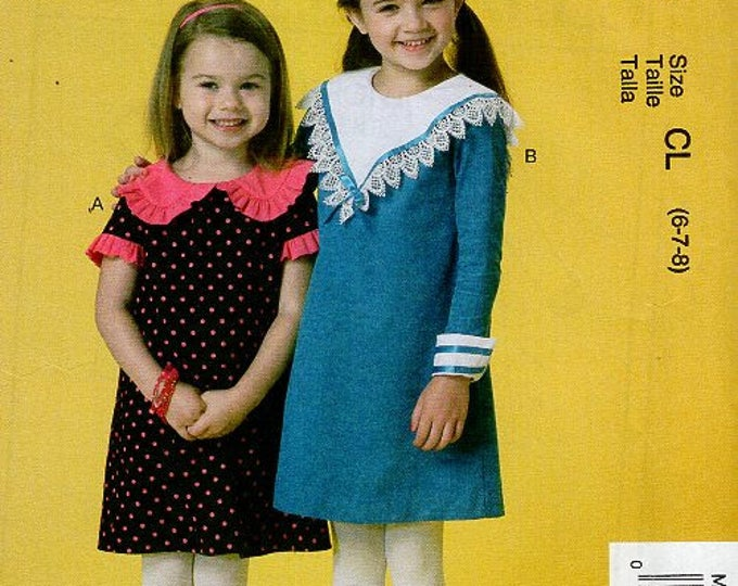 McCall's 7235 Free Us Ship  Ruffles Lace Girl's Dress Collar Variations Back Button Uncut New Sewing Pattern Out of Print Size 2 3 4 5 6 7 8