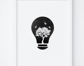 Black and White Print, Modern Print, Wall Art, Printable Art, Scandinavian, Digital Print, Home Decor, Instant Download, Bulb Print, Minimal