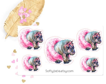 Hippo sticker, life planner sticker for kikki k, filofax or erin condren, animal sticker