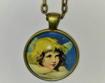 Glass Angel Photo Pendant, Angel Necklace, Angel Jewelry, Angel Art Pendant, Wearable Art, Christmas Jewelry, Christian Necklace