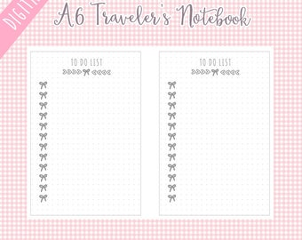 A6 To Do List Printable TN Traveler's Notebook