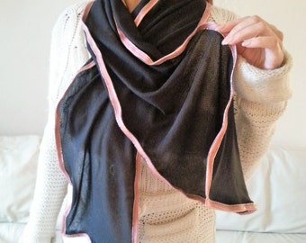 Black jersey scarf, pink and golden ribbon, womans pink scarf, womens pink scarfs, pink scarves, danish design, fashion, womens gift idea