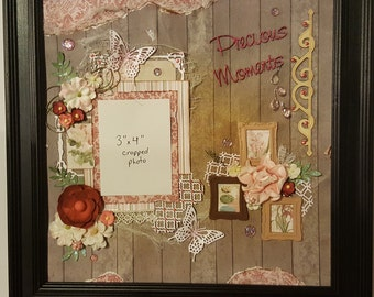 Original Mixed Media Framed Scrapbook Page