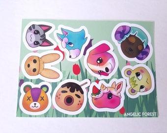 Animal Crossing Villager Sticker Sheet - ACNL Dreamies - Coco - Stitches - Marshal - Skye - Baabra - Merengue - Zucker - Cookie - Lolly