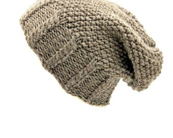 Knitted Winter Woolen Cap Cable Seed Slouch Beanie - Easy Intermediate Beginner Knitting Pattern pdf - auto download - DIY