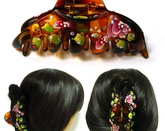 Big Large Huge Brown Acrylic Plastic Hand Painted Flower Leaf Hair Claw Jaw Clip Pin Clamp Accessory Oriental Vintage Look Fashion Gift New
