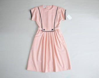 pink sailor dress   80s dress   pink and grey dress