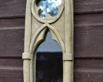"Gothic Arch Mirror stone garden ornament single candle sconce antiqued finish 31cm/12"" High (S)"
