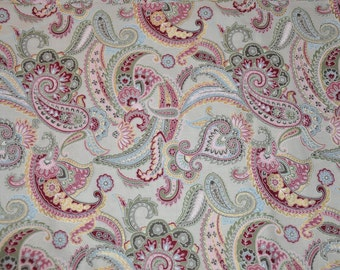 New! 1/2 yard of Gray/Pink Paisley 100% Cotton Quilt Fabric