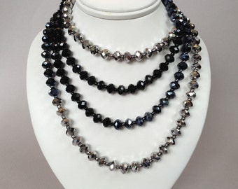 Silver and Black Iridescent Beaded Flapper Necklace