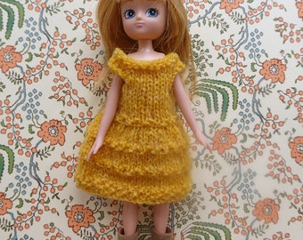 "HANDKNIT DRESS for Lottie and other skinny 7""-8"" dolls like Bjd's, Betsy McCall, Skipper"