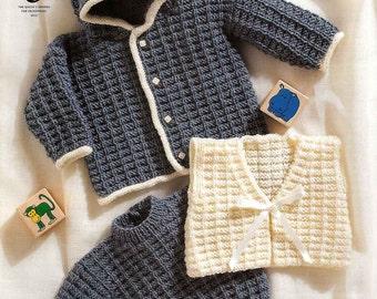 "King Cole Knitting Pattern 2797~Hooded Jacket, Sweater & Gilet~DK~12-18"""