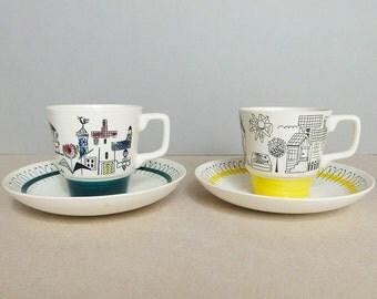 Norwegian Vintage Set of 2 Stavangerflint - Fiskelandsby - Coffee / Tea Cup and Saucer Designed by Inger Waage