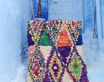 "BOUCHEROUITE RUG | Moroccan Rug | Vintage Rug | Scandinavian | Rag Rug | Tapestry | Art |  6'1""ft x 3'8""ft"