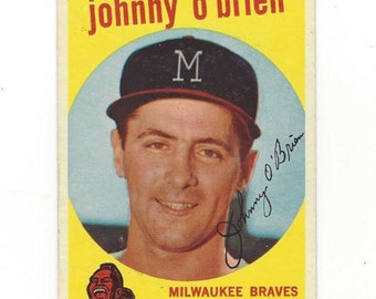 1959 Topps JOHNNY O'BRIEN Milwaukee BRAVES original Vintage card number 499 in excellent condition