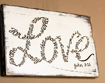 John 3:16 verse shaped into the Word LOVE - For God So Loved The World Pallet Sign - Rustic Scripture Wood Sign - Bible Verse Sign - Love