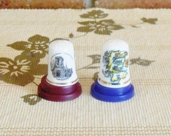 Souvenir fine bone china thimbles Edinburgh Scotland and St John Baptist Church, Chipping Barnet, souvenirware