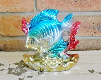 Japanese lusterware fish and seashell soap dish gold, silver, red, blue underwater scene 1950s kitsch