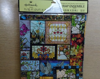 """Hallmark Gift Wrap Ensemble/ Colorful Stain Glass Windows/2 Sheets 26"""" by 20"""" And 1 Matching Bow/New (C)"""