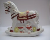 Vintage porcelain rocking horse money bank hand painted made in China