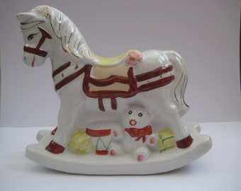 Vintage porcelain rocking horse money bank, hand painted, made in China