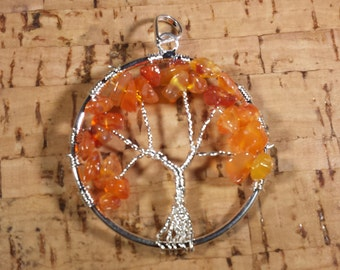CARNELIAN Tree Of Life Wire Wrapped Pendant Stone Natural Gemstone