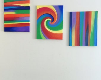 Abstract 1, 2 & 3 | Acrylic Paint on Canvas | 11x14
