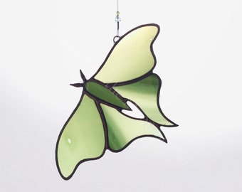 Stained Glass Luna Moth - Dark Green Luna Moth