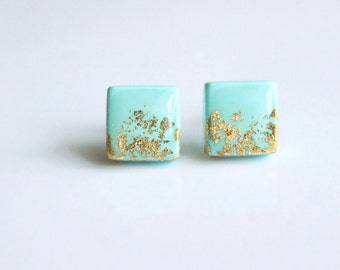 Mint square studs earrings with gold flakes, Mint stud,Clay studs, Mint jewerly,hypoallergenic earrings,Mint post earrings, gifts for her