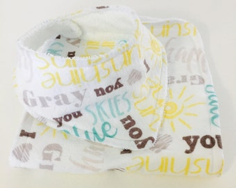 You Are My Sunshine Baby Bib & Burp Cloth Gift Set
