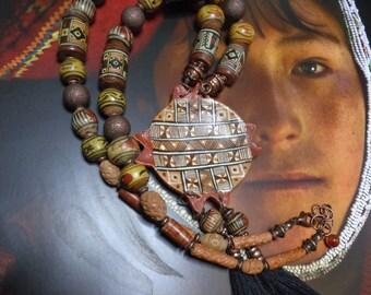 Ethnic necklace Peru, Peruvian ceramic and Terra cotta old, copper and copper metal.