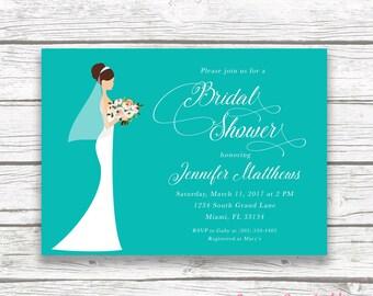 Bride Bouquet Bridal Shower Invitation, Turquoise Aqua Blue Floral Invite, Wedding Dress Printed Printable Invitation