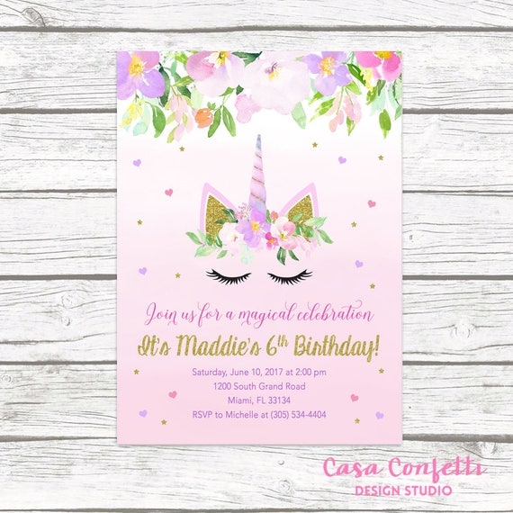 Unicorn Invitation Unicorn Birthday Invitation Girl 1st