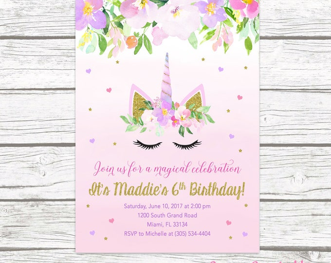 Unicorn Invitation, Unicorn Birthday Invitation, Girl 1st First Birthday Party Invitation, Pastel Floral Gold Glitter Printable Invitation