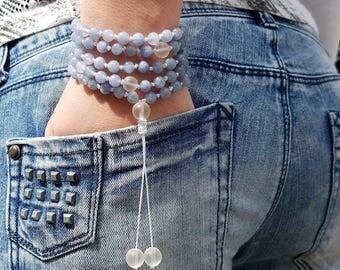 Aquamarine Mala, Mountain crystal, 108 Mala, 108 Mala Necklace, 108 Mala Bracelet, 108 Mens Mala, 108 Mala Beads, 108 Prayer Beads, 108 Wome