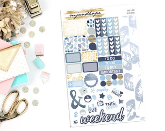 Blue Royal | Personal Size Weekly Sticker Kit | PWK | Planner Stickers