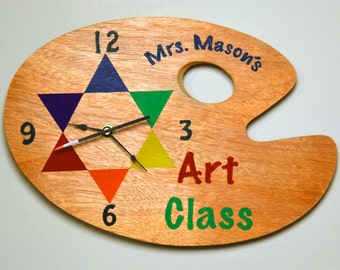 """PAINT PALETTE CLOCK """"Personalize It!"""" with Teacher's Name - Hand Painted Color Wheel"""