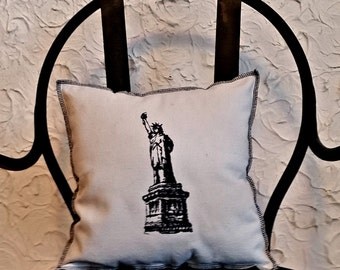 Embroidered Statue of Liberty Upcycled Canvas Vintage Graphic Pillow
