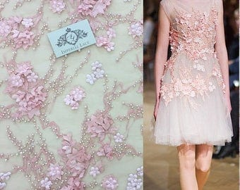 Luxury 3D pink  lace fabric, hand made, pearl beads, 3D flowers, French Lace, pearl Embroidered lace, K00417