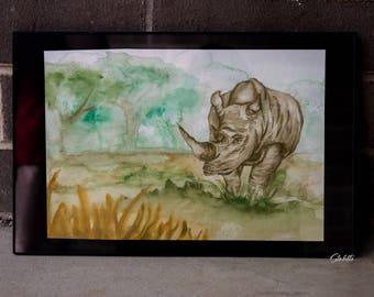 Rhino Watercolor Painting, Rhino Painting, Rhino Art, Rhino, Rhino Wall Art, Rhino Watercolor, Animal Painting, Watercolor Painting, Animal