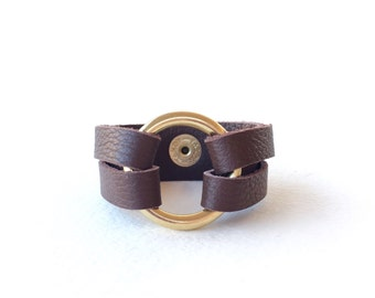 Brown Leather Wrap Bracelet, Leather Wrap Cuff Bracelet, Womens Leather Bracelet, Circle Bracelet, Leather and Metal Bracelet for Women