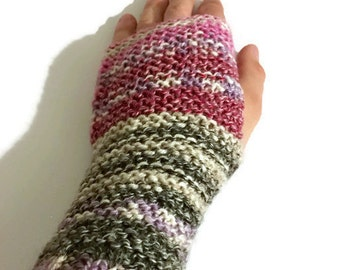 Drifting pinks finger-less gloves - One size - Knitted, Stylish, Fashionable
