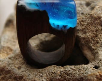 Ultramarine  ring Blue Wooden ring Sky ring Handcrafted ring Wood ring Resin ring Modern ring Carved ring Anniversary Gift her glowing ring