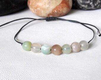Sunstone Yoga Bracelet, Green Lace Agate bracelet, Good Luck, Minimalist Bracelet, Crystal Healing Bracelet, Wish Bracelet, Energy Bracelet