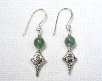 Lyn's Jewelry Moss Agate Drop Earrings Silver