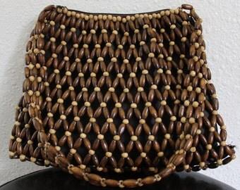 70's Wood Bead Bag FREE SHIPPING