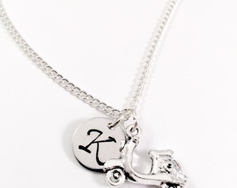 Scooter necklace, Vespa Necklace, initial necklace, personalized charm necklace, Motorbike charm, personalized jewelry, gift for her